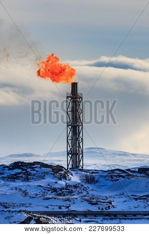 Refinery Flare Burning Of Dangerous Gases In The Oil Field In Norway