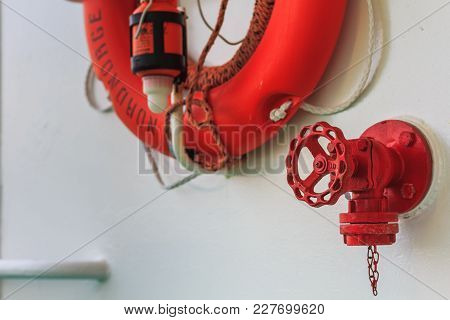 Live Saver Attached At Nordnorge Hurtigruten Ship In Norway