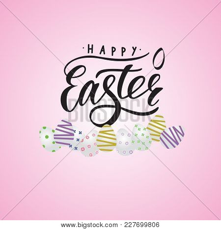 Inscription Of Happy Easter Black Color With Small Decor Of Egg On Pink Background With Illustration