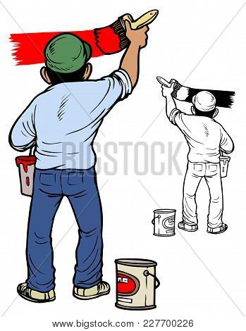 Man In Work Clothes Painting A Wall. Comes With Bonus Black Outline Version