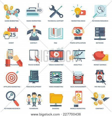 Modern Flat Icons Vector Collection In Stylish Colors Of Web Design Objects, Business, Office And Ma
