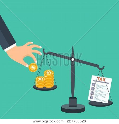 Tax Burden Concept. Money Balancing With Tax On Scales. Flat Vector Illustration