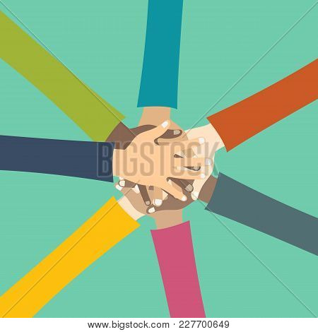 Teamwork Concept. Friends With Stack Of Hands Showing Unity And Teamwork, Top View. Young People Put