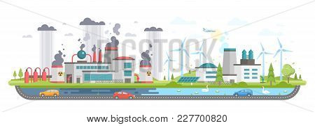 Polluted And Eco Area - Modern Flat Design Style Vector Illustration On White Background. A Composit