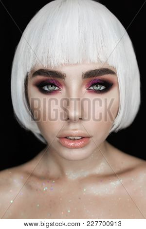 Fashion Stylish Beauty Woman Portrait With White Short Hair. Girl's Face Close-up Professional Makeu