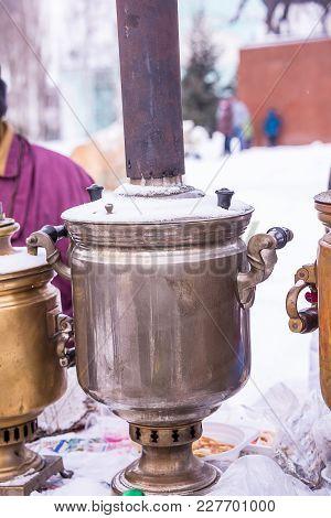 Russian Samovar For Tea, Wood, Street Food