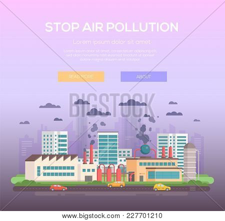 Stop Air Pollution - Modern Flat Design Style Vector Illustration On Purple Background With Place Fo
