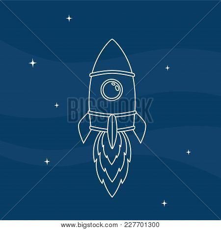 Vector Illustration Of A Rocket. Line Style