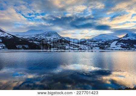 Beautiful View Of Northern Norway Fjord In Winter