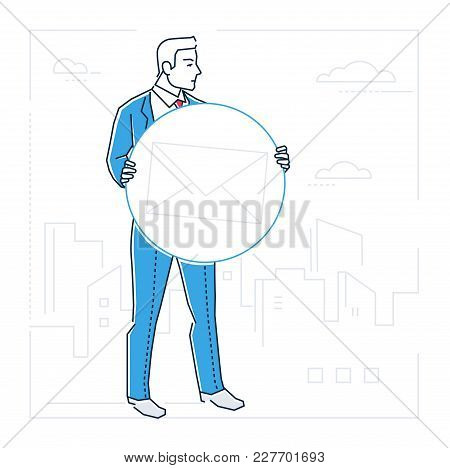 Business Correspondence - Line Design Style Isolated Illustration On White Urban Background. Metapho