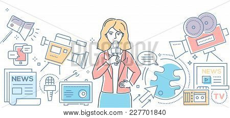 Mass Media Today - Modern Color Line Design Style Illustration On White Background. Banner Header Fo