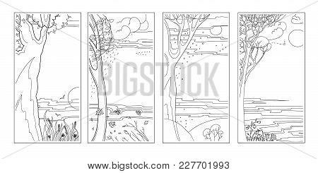 Set Black-white Flat Vector Natural Backgrounds. Four Seasons. Hot Summer Day, Rainy Autumn Falling