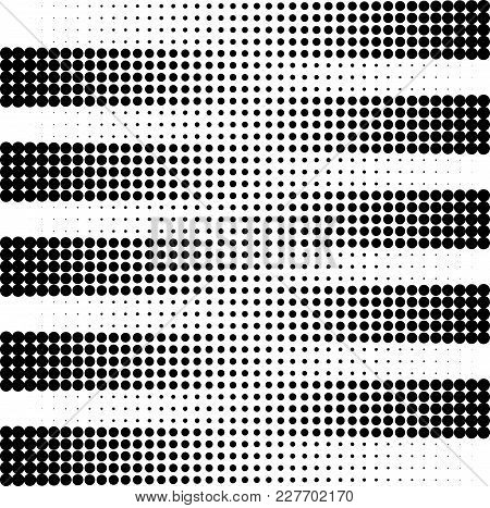 Striped Vector Pattern With Halftone Effect. Black And White Tile Template