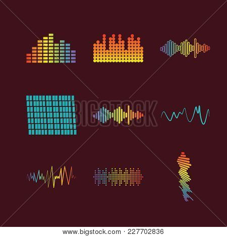 Color Logo Equalizer. Pulse Music Player. Audio Colorful Wave Logo. Vector Equalizer Element. Isolat