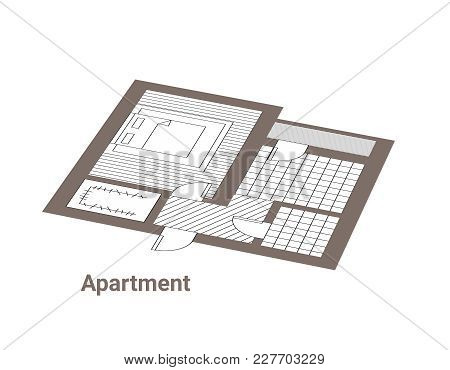 Project Of House. Ground Floor. Black And White, Brown Architectural Plan Of A House. Layout In Top