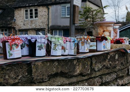 Lacock, Uk - February 3, 2018: Homemade Chutney, Marmalade And Jam For Sale In Small Village Of Laco