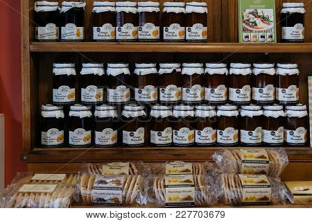 Lacock, Uk - February 04, 2018: Locally Made Marmalade And Biscuits For Sale In Lacock, A Small Vill