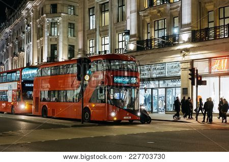 London, Uk - January 24, 2017: New Red Double Decker Bus Waiting On Traffic Light On Regent Street,