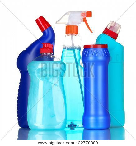 detergent bottles isolated on white