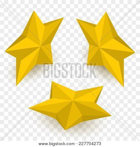 Set Of Isometric Golden Stars. Vector Illustration Template.