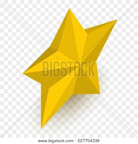 Isometric Star Isolated On Checkered Backgound. Vector