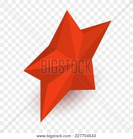 Isometric Red Star Isolated On Checkered Background. Vector Illustration