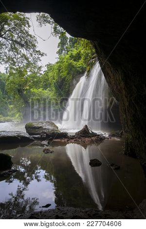Haew Suwat Waterfall At Khao Yai National Park In Thailandl Is A Beautiful Waterfall. Popular With T