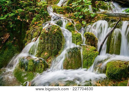 Small Cascade Of Waterfalls In Plitvice National Park, Croatia