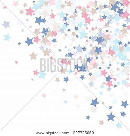 Multicolored Falling Stars Of Confetti. Luxurious Background In Calm Tones.rose, Light Blue, Light B