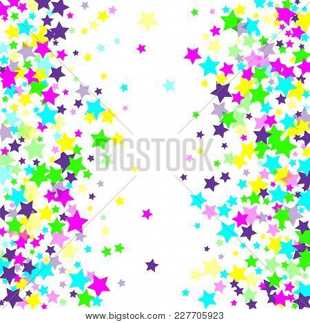 Multicolored Falling Stars Of Confetti. Luxurious Bright Festive Background. Pink, Green, Blue, Turq