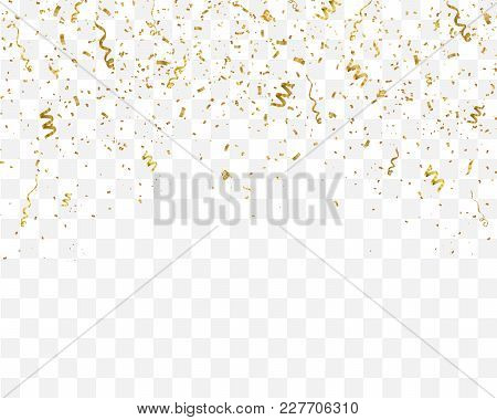 Golden Confetti Isolated On Checkered Background. Festive Template. Vector Illustration Of Falling P