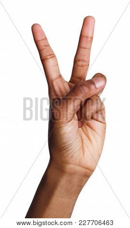 Black Female Hand Shows Number Two Isolated. Counting Gesturing, Enumeration, White Background