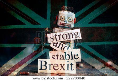 Brexit fail concept with retro  robot
