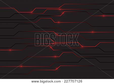 Abstract Red Circuit Light Technology Power Design Modern Futuristic Background Vector Illustration.