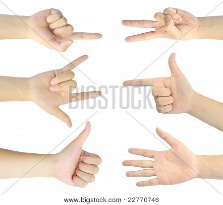 hand gestures set of woman hand isolated on white background