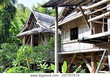 Reproduction Of A Laos House In The Anduze Bamboo Plantation In The French Department Of Gard