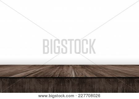 Wooden Table Isolated White Background. Abstract Background.