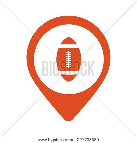 Red Map Pointer With American Football Icon Illustration Eps10