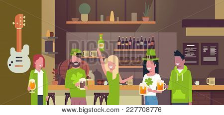 St. Patricks Day Party Background With People In Traditional Green Clothes And Drinking Beer Over De