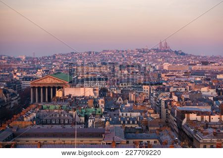 Aerial view of the Madeleine Church and the Basilica of the  in Paris, France