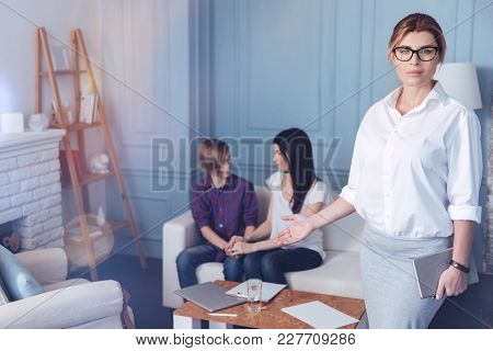 There Is Now Trouble That Cannot Be Solved. Selective Focus On Serious Psychotherapist Pointing At A