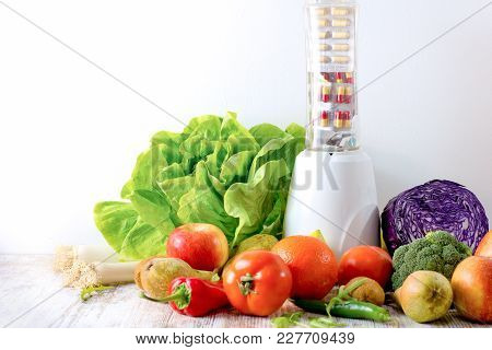 Healthy Eating - Diet, Healthy Food (organic Fruit And Vegetable) And Nutrition Supplement For Your