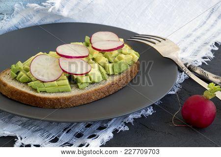 Summer Light Breakfast. Rye Bread With Avocado.