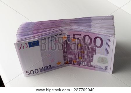 Big Amount Of Five Hundred Notes Of European Union Currency
