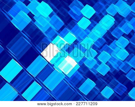 Technology Background With Chaos Cubes. Abstract Computer-generated Image - 3d Illustration. For Web