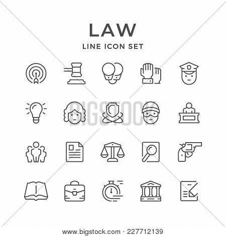 Set Line Icons Of Law Isolated On White. Vector Illustration