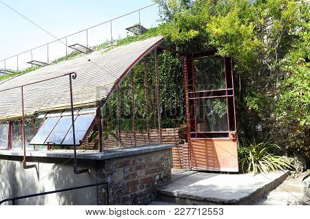 Entrance Of A Greenhouse In The Park Of The Bamboo Plantation Of Anduze In The French Department Of