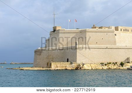 Vittoriosa, Malta - 31 October 2017: Fort St. Angelo, In Vittoriosa, Malta, In The Center Of The Gra