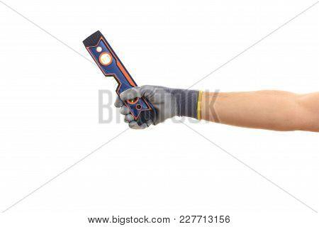 Gloved Hand Holding A Spirit Level On White Background