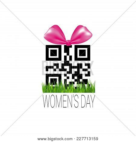 Discount Sign With Qr Code Template International Women Day Sale Sticker Promotion Badge Vector Illu